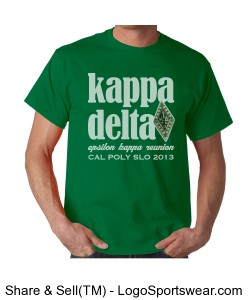 KD White Letters on Men's Green T-Shirt Design Zoom
